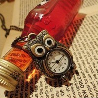 1PCS Vintage Korean Vintage Owl Pocket Watch Pendant Chain Necklace New arrival