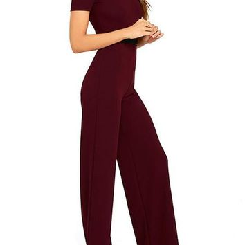 Red Sashes Draped Sewing High Waisted Long Jumpsuit