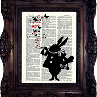 Alice in Wonderland White Rabbit Silhouette Vintage Dictionary art print. Art Print.  White Rabbit silhouette.Code:034