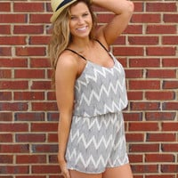 Rock With Somebody Romper - Tan/Black