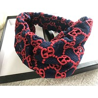 GUCCI High Quality Women New Fashion Embroidery More Letter Hollow Lace Headband Blue
