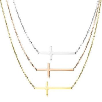 SHIP BY USPS Jstyle 3 Pcs a Set Stainless Steel Sideways Cross Necklace for Women Pendant Chain 16, 20 Inch