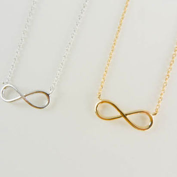 Infinity necklace, romantic necklace, bow necklace, eternity necklace, minimalist necklace, everyday necklace, bestfriend gift, minimal boho