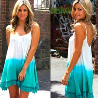 Sleeveless Aqua Dipped Ombre Dress with Crochet Trim