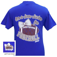 Girlie Girl Originals I'm a Seer-Sucker for Football Bow Royal Blue Bright T Shirt