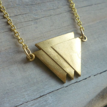 Geometric Triangle Necklace ... Vintage Brass Geometric Shape with Gold Chain