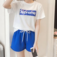Supreme summer new printed short sleeved T-shirt + sports shorts fashion two piece set of women