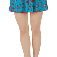 Blue Cherry Spandex Skirt