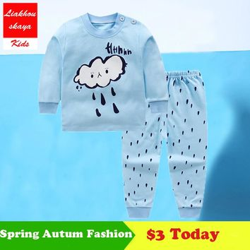 2018 Newborn Baby Boys/Girls Clothes Summer Winter Sets 100% Cotton Clothing Cartoon T-Shirt+Pants Infant Clothes 2pcs Suit