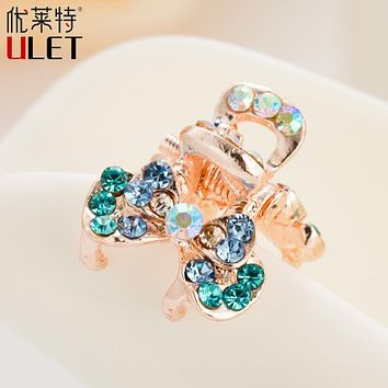 Mini Cute Crab For Hair Trendy Flower Butterfly ULET Hair Clip Rhinestone Claws Imitation Crystal Simulated Decorated  Metal