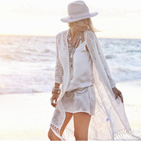 White Lace Fringed Long Beach Cardigan B007730
