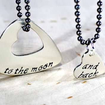 Couples sterling silver guitar pick necklace with heart for love to the moon and back
