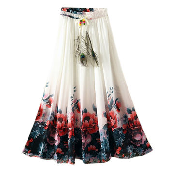 UWBACK New Summer Style Long Skirt Women Maxi Bohemian Print Floral Long Dress Femme Slim Vintage Beach Dress Women TB978