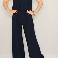 Navy jumpsuit Jumpsuit women Wide leg jumpsuit Halter jumpsuit