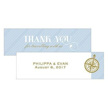 Vintage Travel Small Rectangular Favor Tag - Thank You Pastel Blue (Pack of 1)