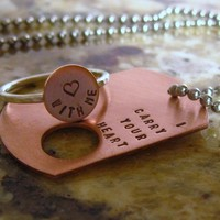 I carry your heart Copper dog tag and sterling by SilverMadeStudio