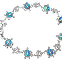 "925 Sterling Silver Rhodium Hawaiian Sea Turtle Honu Blue Opal Bracelet 7""+"