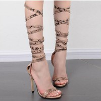 Serpentine Open Toe Ankle Straps Cross Stiletto High Heels Sandals