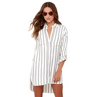 Voyage Cream Striped Shirt Dress