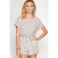 Cold Shoulder Striped Romper - Ivory