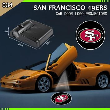 2pcs Wireless Car Door Led Welcome Laser Projector Logo Ghost Shadow Light  San Francisco 49ers Car-styling Car Interior Lamp