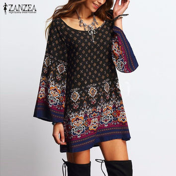 ZANZEA Vintage Women Sexy Mini Print Dress 2017 Ladies Round Collar Long Sleeve Floral Casual Straight Ethnic Short Veatidos