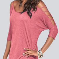 Pink Cold Shoulder T-shirt with Strappy Detail
