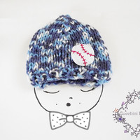 Baseball Hand Knit Baby Beannie, Blue Hat, Baseball Hat, Baby Hat, Fall Children Accessories, Toddler Hat, Infant Hat, Children Beannie