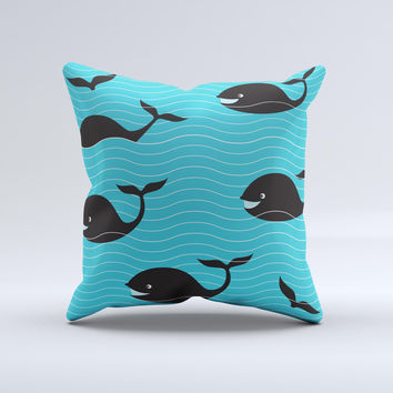 Teal Smiling Black Whale Pattern  Ink-Fuzed Decorative Throw Pillow