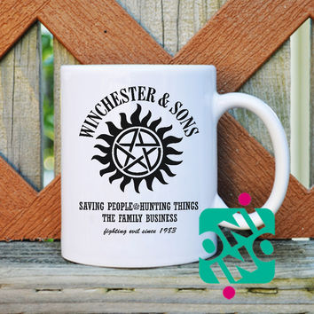 Winchesters & Sons Coffee Mug, Ceramic Mug, Unique Coffee Mug Gift Coffee