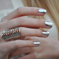 Fancy - Metallic Silver Nail Wraps by Nail Rock