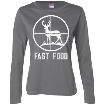 Fast Food Hunters Deer Hunting white 3588 LAT Ladies' LS Cotton T-Shirt