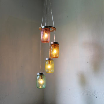 Over the Rainbow  Mason Jar Chandelier  Spiral by BootsNGus
