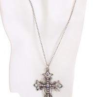 Silver High Polished Metal Cross Pendent Chain Necklace