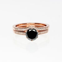 Black  and white diamond engagement ring set, Rose gold ring, unique ring set, black diamond solitaire, curved ring, diamond wedding, rose