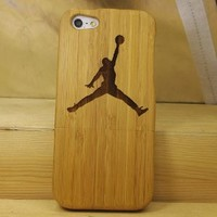 Jordan NBA Basketball Player 2 Natural Handmade Hard Wood Bamboo Case Cover Protective Shell for Iphone 5