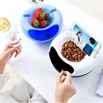 Minch Double Layer Plate Dish Multi-use Storage Box Container Residue Separation Dry Fruit Snacks Holder with Phone Mount
