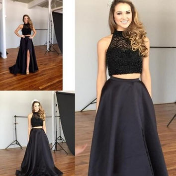 Black Hifgh Neck Two Piece Prom Dresses