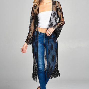 Ladies fashion long sleeve open front scalloped lace long cardigan