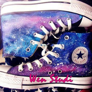 DCKL9 Galaxy Converse Galaxy Custom Design Shoes High Quality Hand Painted Shoes,Converse,Cu