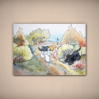Pounce Awareness Day Card Small Watercolor Art Print 5x7 inches