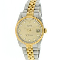Rolex Datejust 2-Tone Gold/Steel Original Champagne Diamond 31mm Jubilee Watch 68273