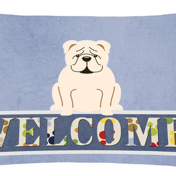 English Bulldog White Welcome Canvas Fabric Decorative Pillow BB5704PW1216