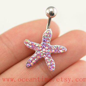 starfish Belly Button jewelry, pink diamond belly button ring,starfish Navel Jewelry,pearl bellyring friendship belly button jewelry