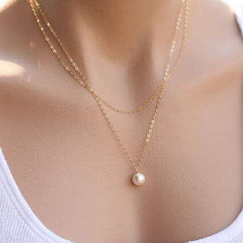 Gift Jewelry Stylish Pearls Chain Necklace = 4831048004