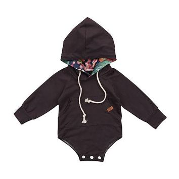 Baby Girls Fall/Winter Drawstring Hoodie Romper