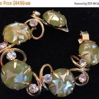 ON SALE Vintage Green Lucite & Rhinestone Bracelet, High End Rare Hard To Find Vintage Jewelry, Old Hollywood Glamour