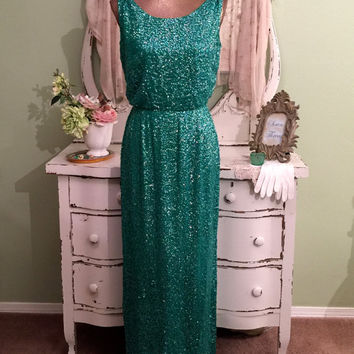ELEGANT!  Green Sequined Dress, 60s Mad Men, Hollywood Glam, MS/M, Long Silk Gown w Scoop Neckline, Formal Evening Dress, Sleeveless Dress