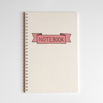 "Ribbon Notebook - Spiral Bound Notebook - Recycled Paper Notebook - 5.5"" x 8.5"""