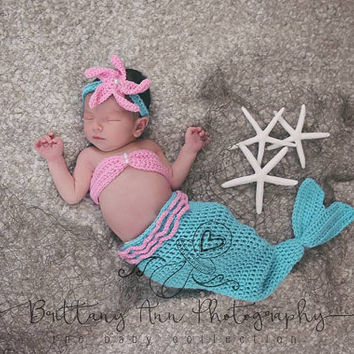Newborn Baby Pink and Turquoise Mermaid Costume, 0 to 3 month baby girl Mermaid Photo Prop